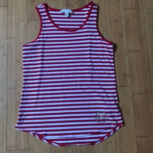 Michael Kors white and red stripped tank top.